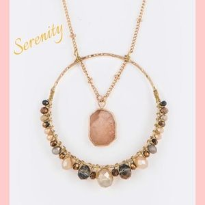 "Serenity Pendant on 30"" Beaded Gold Chain"